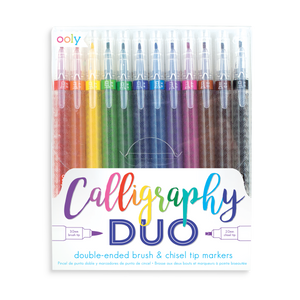 Set of 12 Calligraphy Duo Markers for chisel tip calligraphy and brush lettering
