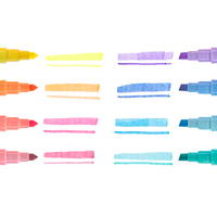 Pastel Liner markers lined up next to chisel tip and liner tip swatches