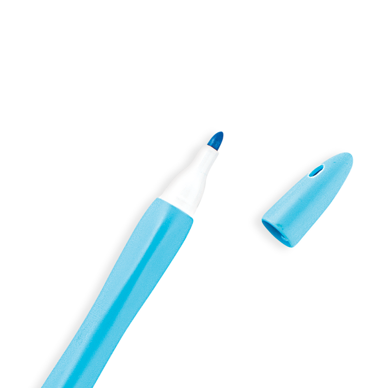 Close up of Blue Smooth Hues Marker with cap off showing rounded tip