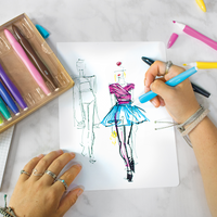 Drawing ballerina with Smooth Hues fine tip art markers