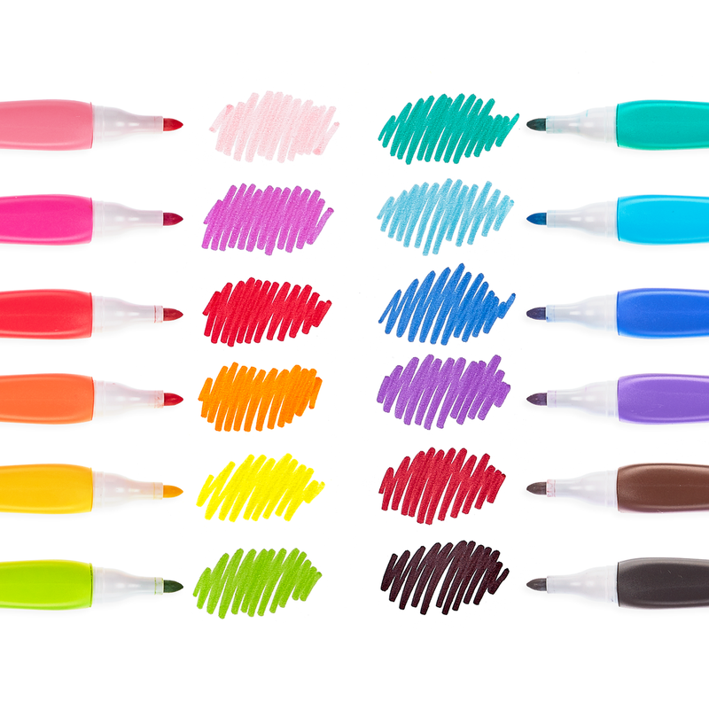 Smooth Hues Markers lined up in two rows next to vibrant swatches