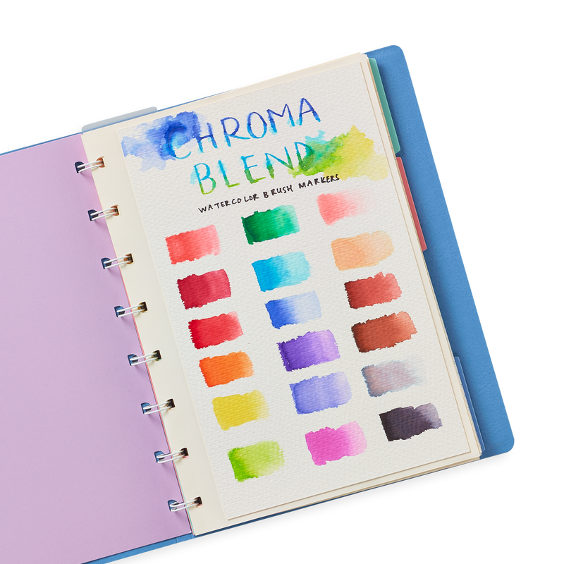 Chroma Blends Watercolor Markers colors swatched in a sketchbook