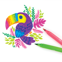 Colorful toucan drawing with pink and green Big Bright Brush Markers next to it