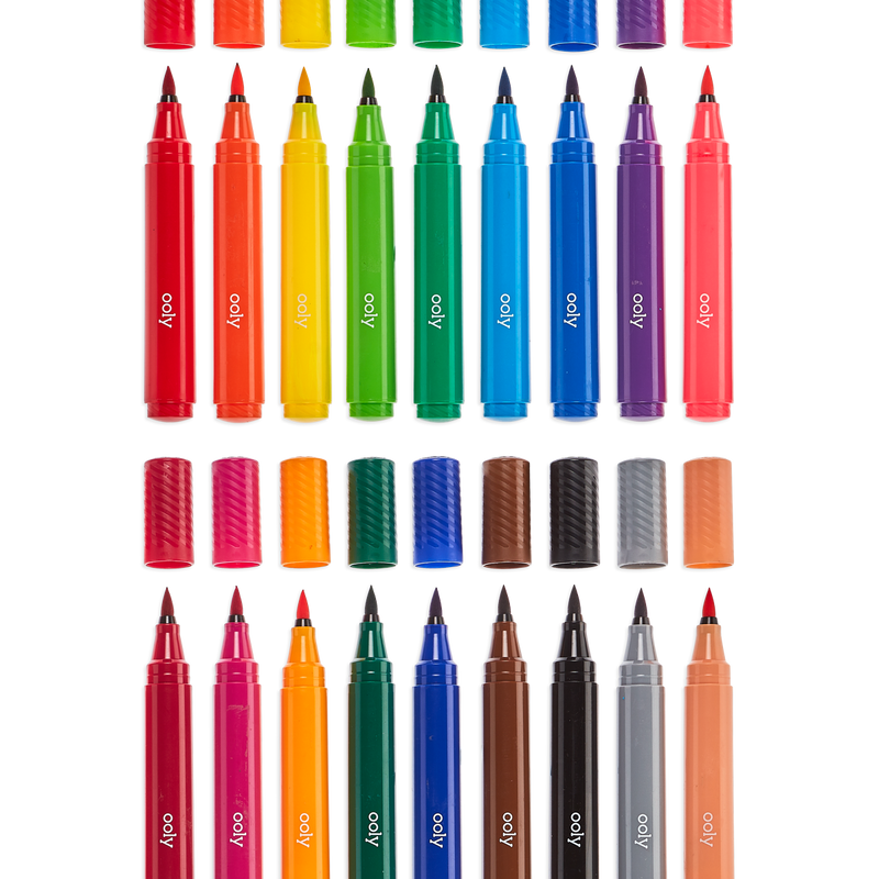 Big Bright Brush Markers lined up in two rows with caps off