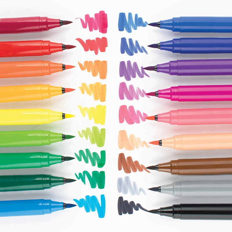 18 colorful brush markers with drawn brush lines from the Big Bright Brush Marker set