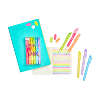 Mini Magic Liners Erasable Highlighters shown with 2 different notebooks and swatches of their colors