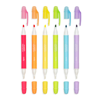 Mini Magic Liners Erasable Highlighters shown in a row with the caps off to display the colors and the bottom caps off to show eraser