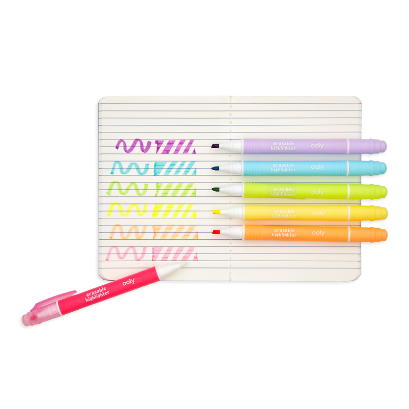 Mini Magic Liners Erasable Highlighters show the 6 different colors in a notebook