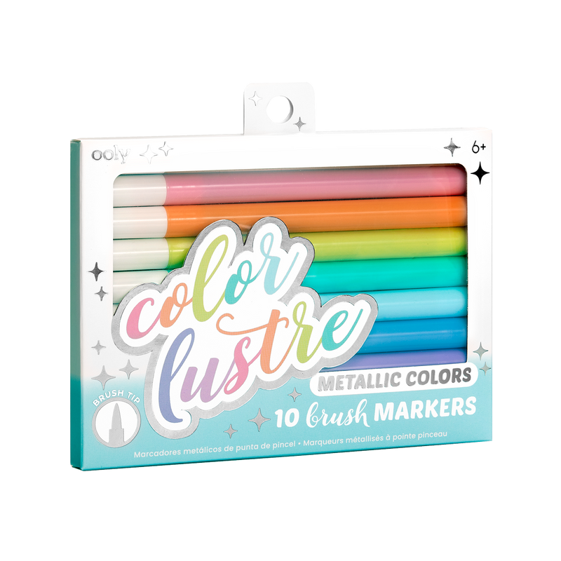 Image of OOLY Color Lustre Metallic Brush Markers in new package