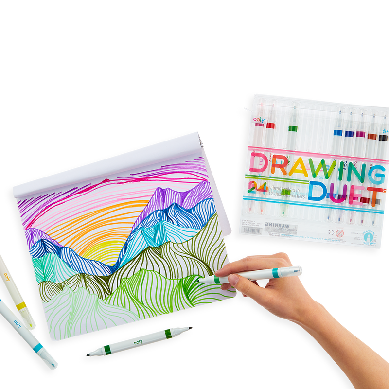 Image of a picture of colorful mountains created with the OOLY Drawing Duet Double Ended Markers