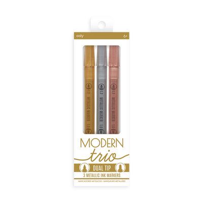 OOLY Modern Trio Dual Tip Metallic Markers in new package (front)