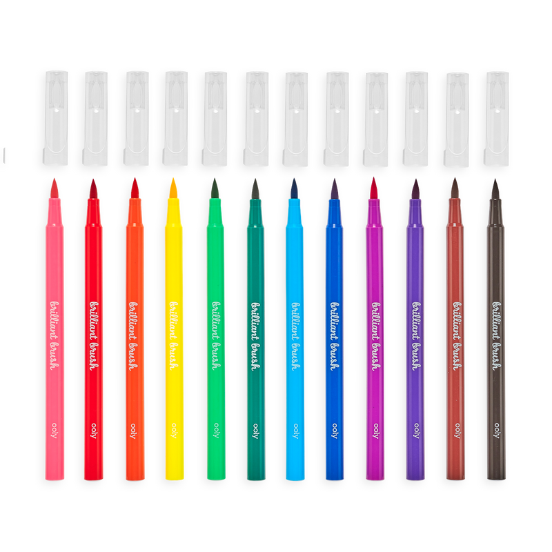 Brilliant Brush Markers - set of 12 with caps off