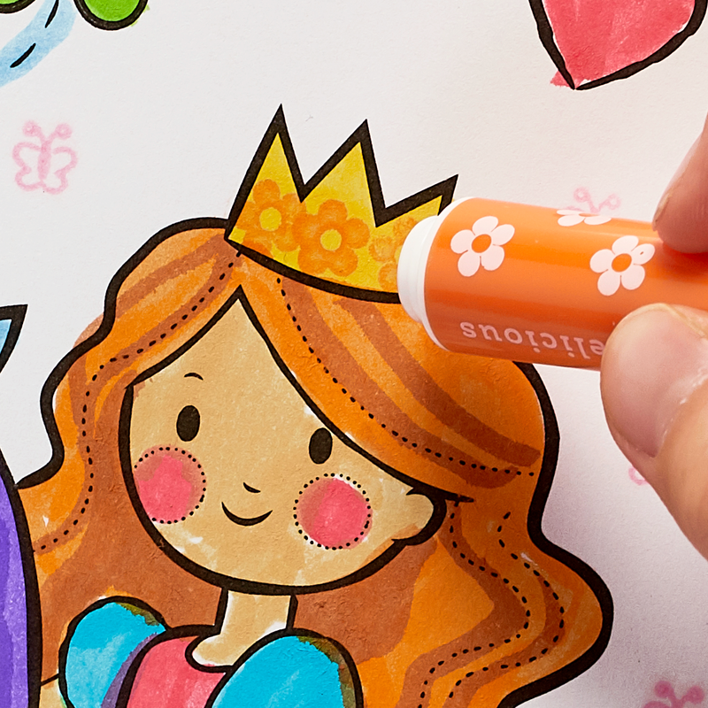 Adding details to a drawing with Stampables Scented Double-Ended Stamp Markers.
