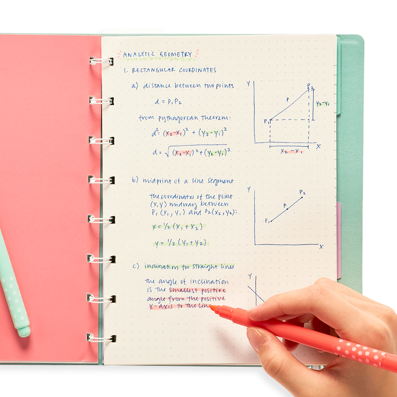 Using the OOLY Pastel Mints Scented Highlighters in a notebook