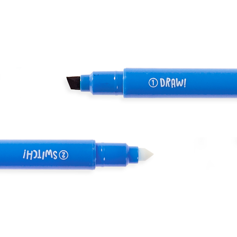 Blue Switch-eroo Color Changing Marker showing both ends of marker