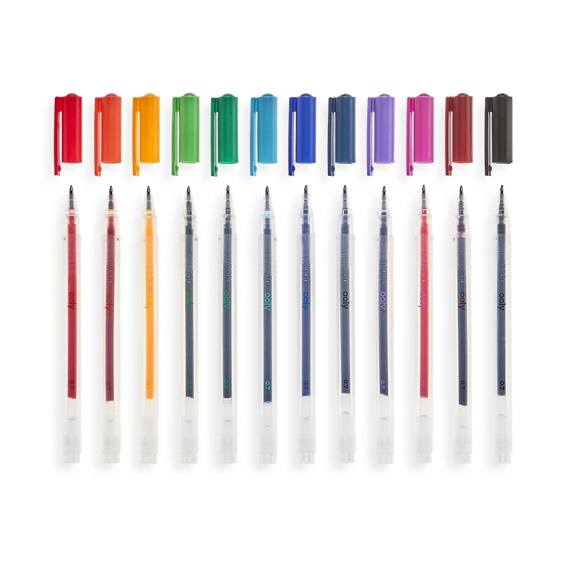 Color Luxe Gel Pens lined up with caps off showing fine tips