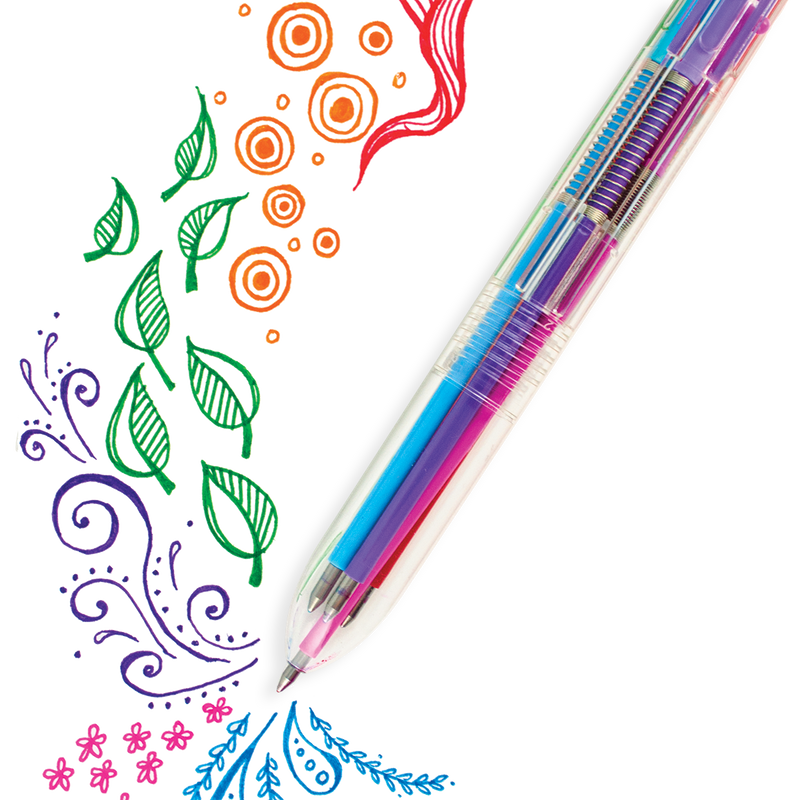 6 Click Gel Pen with artistic freehand designs