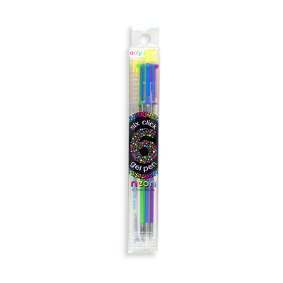 6 Click Neon Multi Color Gel Pen with 6 different colored inks