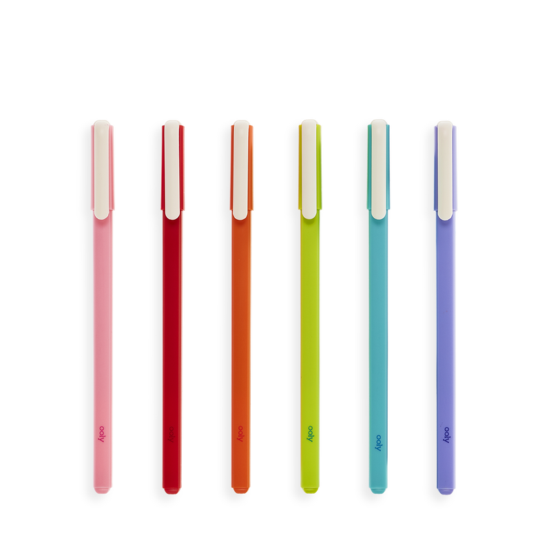Colorful modern writers gel pens lined up out of package