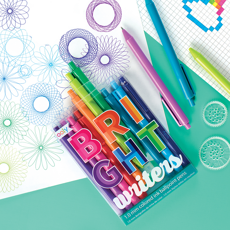 Set of Bright Writers ballpoint ink pens with spirograph artwork