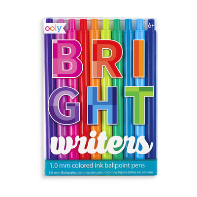 Bright Writers colored ballpoint pens with 10 different colors
