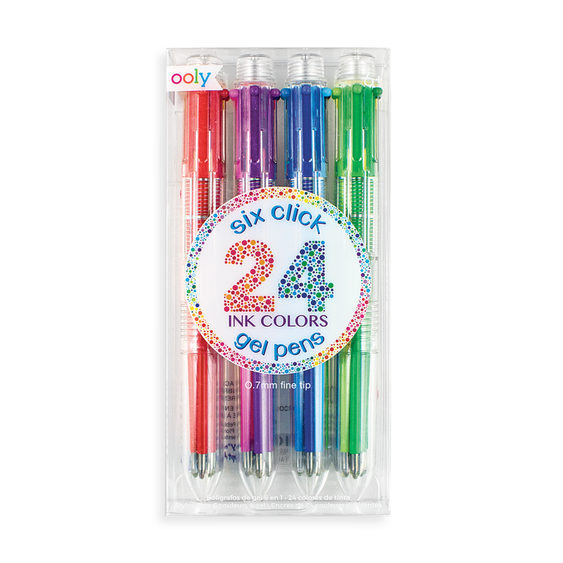 6 Click Multi Color Gel Pen - set of 4