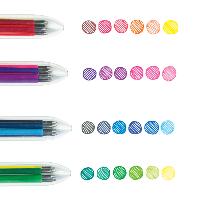 All four 6 Click Multi Color Gel Pen with color swatches for each color