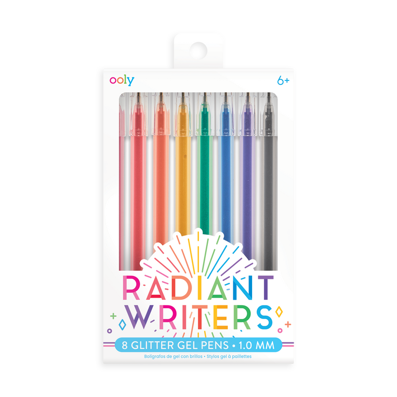 OOLY Set of 8 Radiant Writers glitter gel pens with colored gel ink in new cardstock packaging