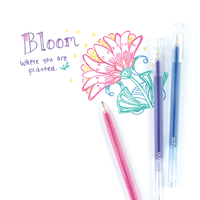 """Bloom""written with colored gel ink from Radiant Writers glitter gel pens"