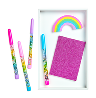 4 Rainbow Glitter Wand Ballpoint Pens Shown with pink Glamtastic notebook and rainbow shaped eraser