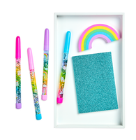 Blue oh my glitter notebook with glitter wand pens and rainbow eraser