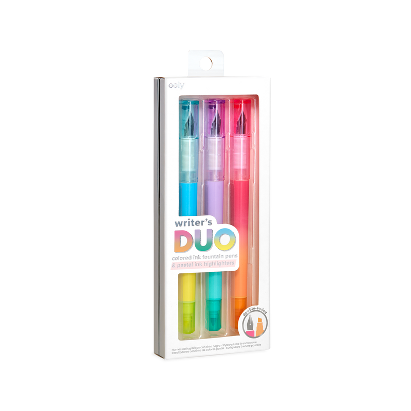 Writer's Duo 2 in 1 Fountain Pens + Highlighters in packaging