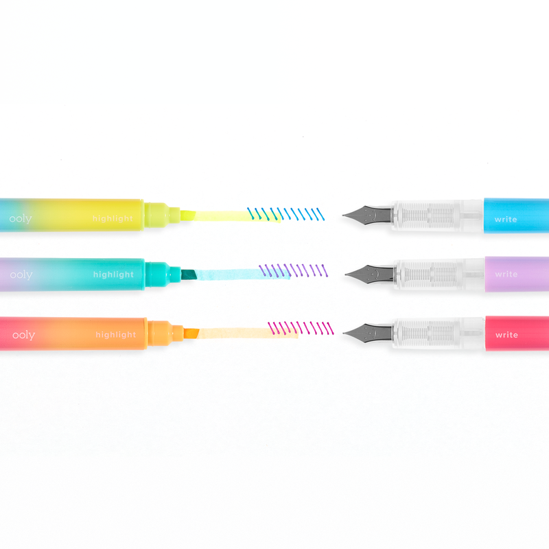 Writer's Duo 2 in 1 Fountain Pens + Highlighters in use