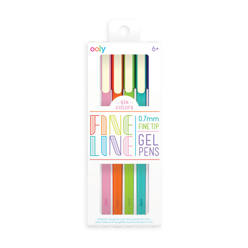 OOLY Fine Line Colored Gel Pens Set of 6 in packaging