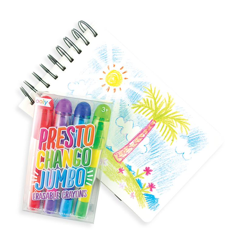 Sunny tropical drawing with Presto Chango jumbo erasable crayons