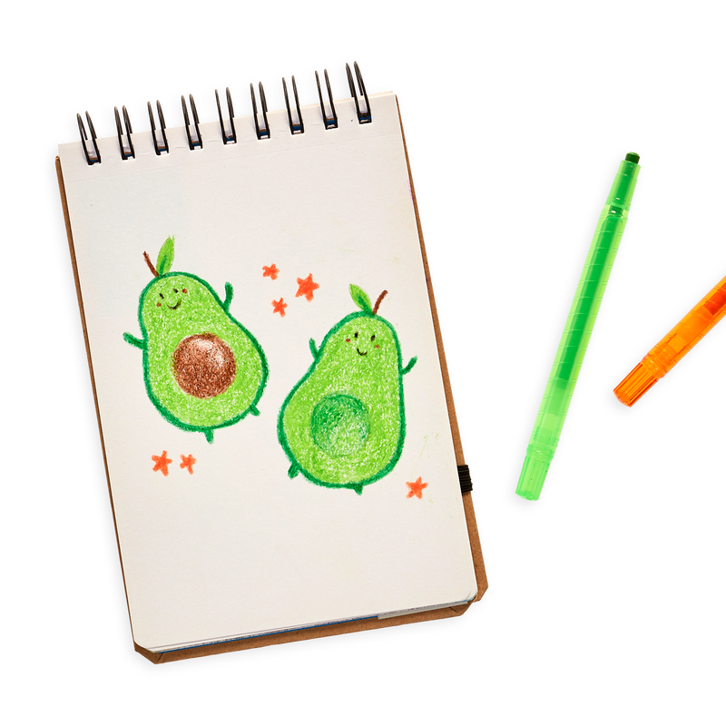 Avocado drawing with the Yummy Yummy Scented Twist-Up Crayons