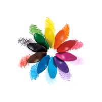 Left Right Crayons arranged in a flower formation next to color swatches