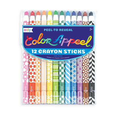 Package of Color Appeel peelable wax crayons. Set of 12