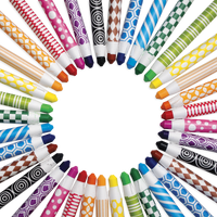 Color Appeel Crayons set in a circular mosaic
