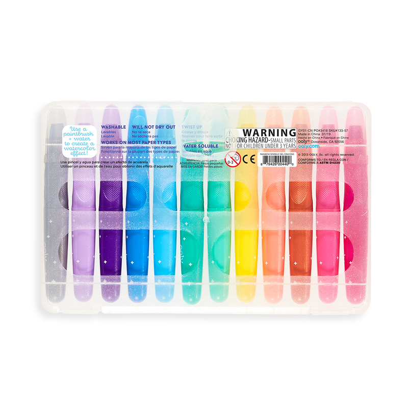 Back of the travel case packaging of the Rainbow Sparkle watercolor gel crayon set