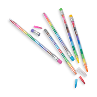 6 crayon pens with open caps from the Presto Chango erasable crayon set