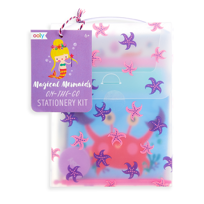 Magical Mermaids On-The-Go Stationery Kit packaging with carrying handle