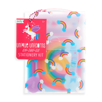 Unique Unicorns On-The-Go Stationery Kit packaging with carrying handle