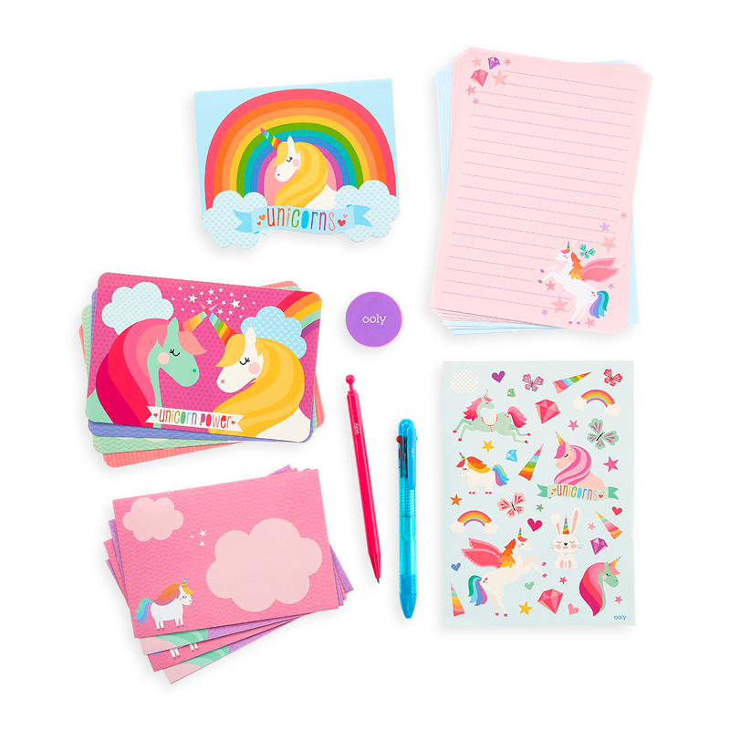 Unique Unicorns On-The-Go Stationery Kit note pads, post cards, letterheads and more