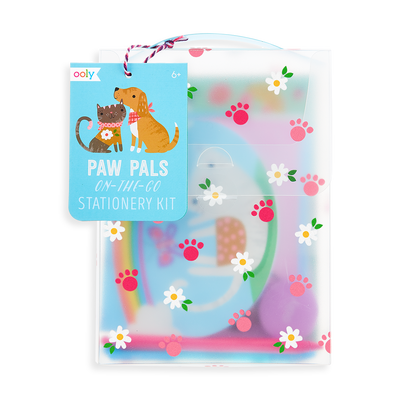 Product packaging of the On-The-Go Travel Stationery Kit - Paw Pals (front)