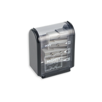 Black Mighty Pencil Sharpener with clear colored casing