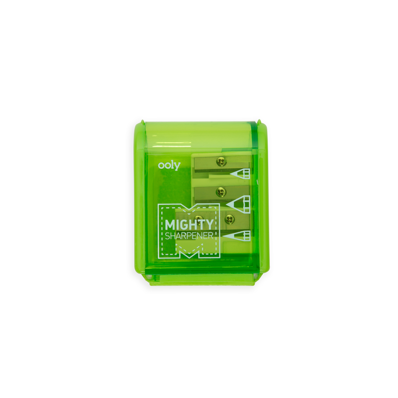 Green Mighty Pencil Sharpener 3 hole with clear colored casing