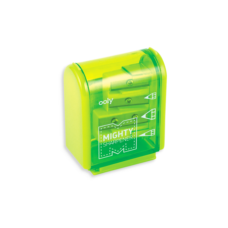 Green Mighty Pencil Sharpener with clear colored casing