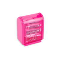 Hot Pink Mighty Pencil Sharpener with clear colored casing