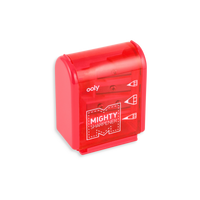 Red Mighty Pencil Sharpener with clear colored casing